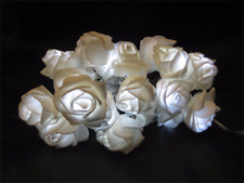 20 WHITE LED BATTERY OPERATED ROSE FLOWER LIGHTS 5.5M VASE LOUNGE DOOR FRAME TRE