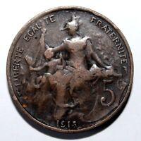 KM# 842 - 5 Centimes - France 1915 (F)