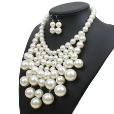 Women Fashion Simple Statement Big Faux Pearl Short Clavicle Choker Necklace Set