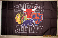 CHICAGO ALL DAY BLACKHAWKS BULLS BEARS CUBS WHITE SOX 3x5 FEET FLAG BANNER NEW!