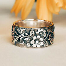 Vintage 925 Silver Flower Ring Bird Women Men Wedding Jewelry Party Size 5-10
