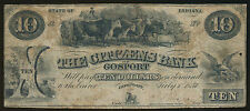THE CITIZEN'S BANK OF GOSPORT 1857 $10.00 OBSOLETE CURRENCY BP1865