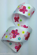 RIBBON with PINK GLITTER BUTTERFLIES, 1 Mtr,Gifts/Cards/Bows/Party/Birthday/Girl