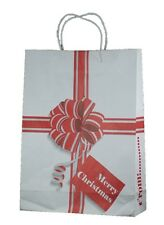 CHRISTMAS RIBBON & BOW WHITE PAPER BAGS WITH TWISTED PAPER HANDLE - MEDIUM X 25