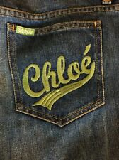 SEE BY CHLOE Distressed Vintage Style Wide Leg Long Embroidery Jeans Size 30