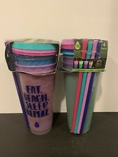 New Lot Of 2 Tal Color Changing Tumblers Straw Set 24 oz 4 Pack (8 Cups Total)