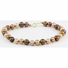 "14k Yellow Gold Multi-Color Brown Pearl Bracelet 7"" 585"