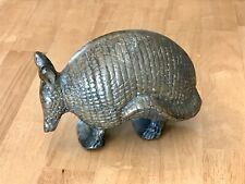 """Vintage Brass Armadillo Figurine Paperweight 6"""" long Heavy Solid"""