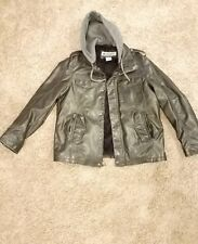 colombia men jacket leather w/hood