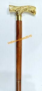 Nautical Brass Solid Derby Head Handle Designer Brown Wooden Cane Walking Stick