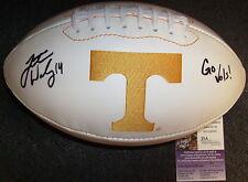 Justin Worley Tennessee Volunteers Signed Logo Football Jsa Coa L09797
