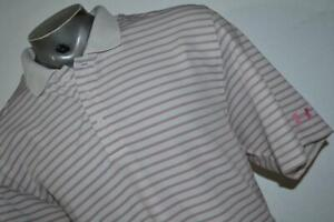 19131-a Mens Under Armour Golf Polo Shirt Size 2XL Gray Pink White Polyester