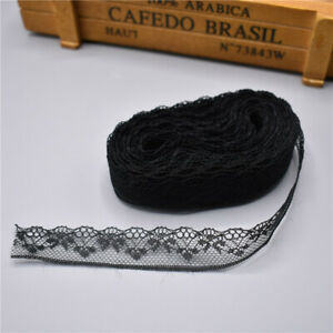 5 Yards Lace Ribbon Tape 18MM Wide Trim Fabric DIY Embroidered (Black)