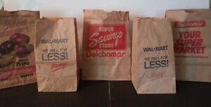 Vintage Walmart & Delchamps Paper Bags