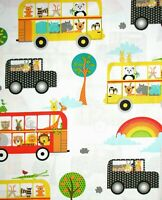 Quilting Treasures ~ On The Road- Bus Car Animals ~ 100% Cotton Quilt Fabric BTY