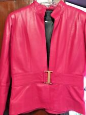 Genuine LEATHER JACKET Gold Buckle Fuchsia Beautiful Size 6