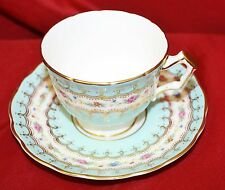 BEAUTIFUL AYNSLEY ENGLAND BLUE FLORAL CUP AND SAUCER
