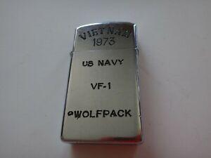 VIETNAM War Year 1973 Zippo Slim Lighter VIETNAM 1973, US NAVY VF-1 WOLFPACK
