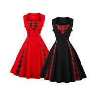 Women Retro 1940s 50s Plaid Rockabilly Cocktail Prom Swing Skaters Tea Dress