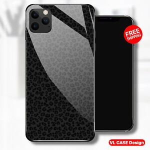 iphone 13 pro case Black Leopard Tempered Glass Phone Case Samsung S21 Plus Gift
