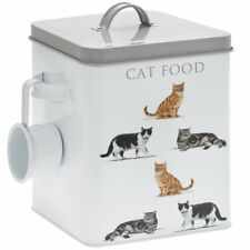 VINTAGE STYLE WHITE ENAMEL REAL CAT FOOD STORAGE CONTAINER TIN WITH SCOOP