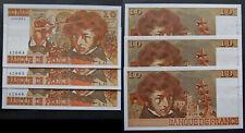 Billet RARE suite de 3 billets 10frs Berlioz Alph E47 du 6-6-1974, 42664, 65, 66