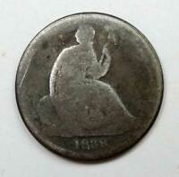 1838-O No Stars Seated Liberty Silver Dime. Love Token, Reverse engraved