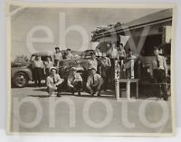 1940's FORD American LaFrance Fire Truck Department Group Photo Indiana? Vtg