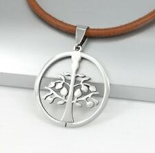 Silver Celtic Tree Of Life Stainless Steel Pendant Brown Leather Choker Necklace