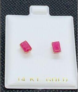 14KT Genuine Red Ruby (1.24ct) Earrings -Appraised Value $1,650.00 w Certificate
