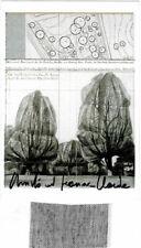 Christo Wrapped Trees AK  original hand signed + stoff 7 X 3,5 cm