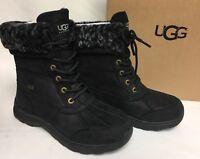 UGG Australia Adirondack III Leopard Black Waterproof Leather Snow Boots 1018344