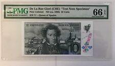 1980 Test Note De La Rue Giori Queen of Spades Switzerland PMG 66 EPQ Gem UNC