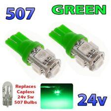 2 x GREEN 24v Capless Side Light 507 501 W5W 5 SMD T10 Wedge Bulbs HGV Truck