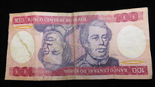 BANCO CENTRAL DO BRASIL BANKNOTE 100 CRUZEIROS PAPER MONEY BRAZIL BANK