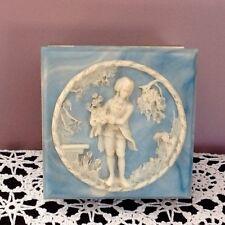 Avondale Vintage Aqua Blue Crushed Stained Glass Jewelry Box USA