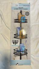 3 Tier MATTE BLACK - Metal Shower Corner Pole Caddy Shelf Bathroom Wall Storage