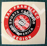 SPORTS CAR CLUB OF AMERICA SAN FRANCISCO REGION VINYL DECAL STICKER -SCCA RACING