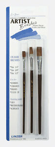 Linzer 1/4, 3/8, and 1/2 in. W Flat Ox Hair Artist Paint Brush Set