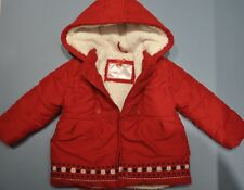 Red White Girls Padded Fleece Lined Button Jacket Coat 18-24 Months Embroidered
