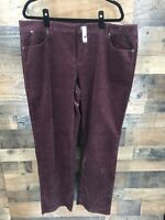 New Talbots Women's Maroon Corduroy Heritage Straight Leg Pants Size 20W