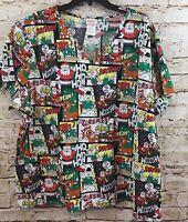 Christmas Rudolph Reindeer Scrub top shirt  womens small nursing adult F6