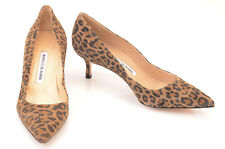 Manolo Blahnik brown L7 R7.5 suede leopard point toe pump shoe NEW $625 MISMATCH