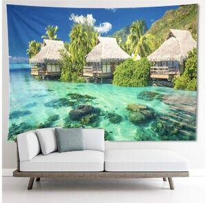 Tropical Tapestry, Coastal, Coconut Palm Tree, Ocean, Beach, 51.2W x 59L