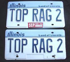 """ILLINOIS VANITY LICENSE PLATE PAIR  """" TOP RAG 2 """" RAG TOP CONVERTIBLE TOPDOWN"""