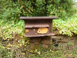 Wooden Hedgehog house/ Hibernation nesting box with tunnel