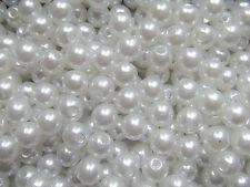 50pz  perline in Acrylic 8mm tondo colore bianco bijoux