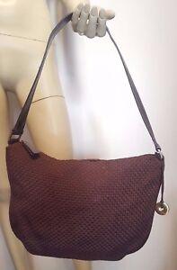The SAK Woven Purse Handbag Brown with PVC Trim