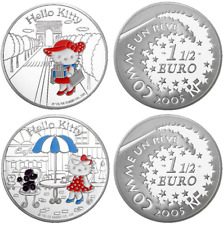 Lot 2x1,5euro HELLO KITTY (3999ex.) France 2005 BE argent silver & Coffrets RARE