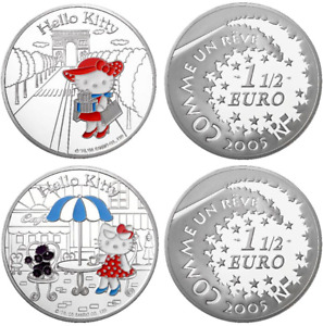 2 x 1,5 euro HELLO KITTY France 2005 BE argent (3999 ex.) Coffret RARE SILVER PP